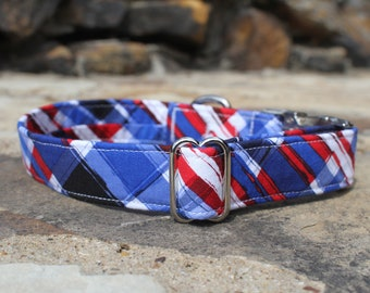 American Plaid Dog Collar | Large Dog Collar | Plaid Dog Collar | Male Dog Collar | Female Dog Collar | Pet Collar | Small Dog Collar