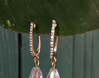 Iridescent Teardrop Bead Rhinestone Earrings, Rhinestone Leaf Earrings (2 variations), Valentine's Day Gifts, Valentine's Day Earrings,