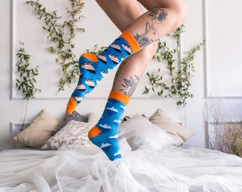Glaciar Mismatched Blue Orange  Sailor Socks with Ship and Iceberg Pattern for Men and Women