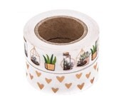 Golden Cactus and Hearts, Succulents, Terrarium, Gold Foil, Washi Tape Sample Lengths.