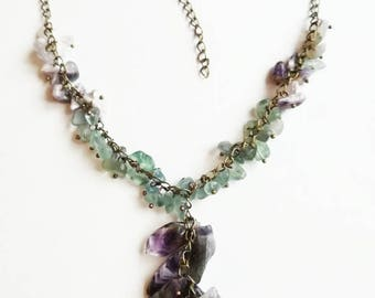 Ametisty necklace fluorite bronze chain gemstone pendant necklace gift for Mom for her purple green peacock gemstone chip ametisty pendant