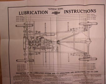 Original 1920's Chevrolet Superior Lubrication Instructions Shop Poster 19x24