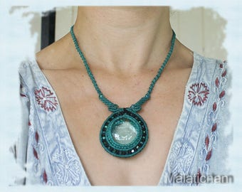 Brooch Pendant Necklace Turquoise Macrame