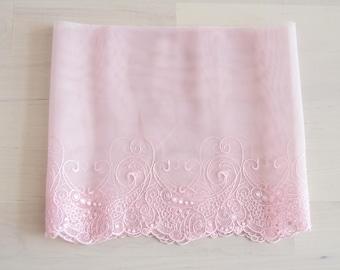 """soft lace Fabric one yard pink 7"""""""