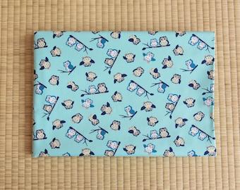 cotton japanese owl  fabric 1/2 yard