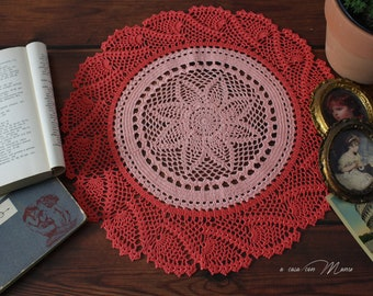 Large crochet centerpiece in pink and orange Bohemian style perfect gift for Mom
