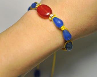 Chakra Macramé Shamballa Bracelet Handmade Adornment with Natural Quartz Gemstone and Rhyntones Bracelet 16 cm, 7 Beads.