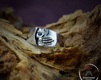 Silver skull  band ring Winter is coming Ring Silver skull Ring Wedding skull ring Woman  skull band ring Mens Jewelry Handmade