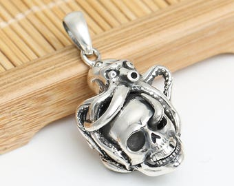 S925 sterling silver, creative, retro, punk, rock and roll, Skull Pendant