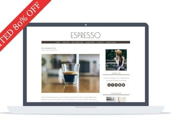 80% OFF - Espresso - Minimal responsive Wordpress Theme - Self Hosted - Perfect for blogging while enjoying your morning coffee.