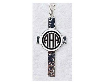 Hammered Cross Enamel Pendant Necklace - FREE SHIPPING