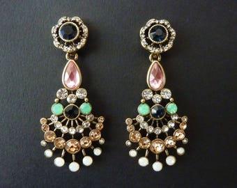 Art Deco Earrings Great Gatsby Earrings Jewelry Art Nouveau Earrings Vintage Earrings Sapphire Earrings Drop Earring Downton Downtown Abbey