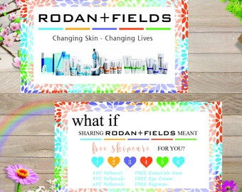 PRINTABLE Rodan and Fields Preferred Customer Punch Card -  Business Card / Preferred Customer Referral Card, Instant Download RF007