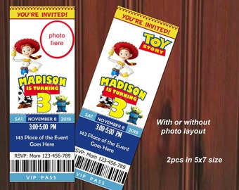 Toy Story Invitation. Toy Story Birthday Invitation. Toy Story Birthday. Jessie Invitation. Ticket Style Invites. Digital (you print)