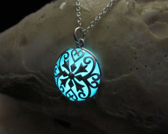 Silver necklace glow in the dark