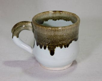 Black and White Hand Thrown Stoneware Ceramic Mug with Hare's Fur Over Glaze