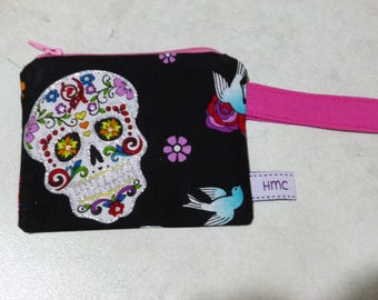 Mini zippered bag. Glittering sugar skulls. 11cm x 9cm. Lined. Ideal for lunch money or meter money. Washable. Fun & practical.