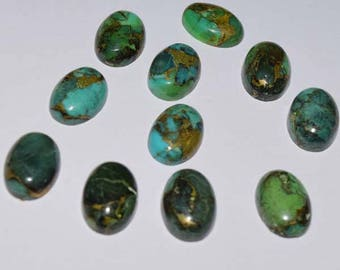 ME-0008 Gorgeous Copper Turquoise Cabochon Size 10x14mm Pack of 11 Pieces Weight 61 carat 100% genuine and natural stone.