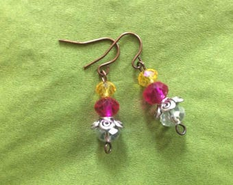 Earrings handmade with Swarovski crystals pink, yellow, and white