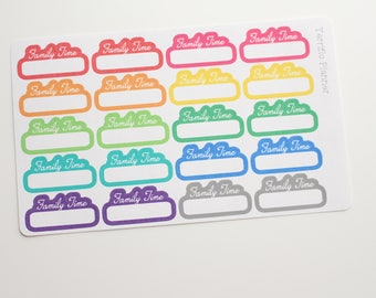 Family Time Stickers 20 Multi Colors For Planner