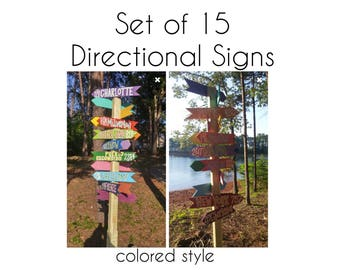 Personalized Mile Marker Signs: set of 15 custom COLORED STYLE directional signs