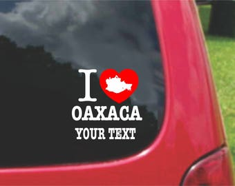 2 Pieces I Love Oaxaca Mexico Stickers Decals 20 Colors To Choose From.  Free U.S.A Free Shipping