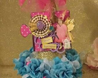 Fairy Birthday Party Decoration ~ Birthday Gift Box, Altered Fairy, Birthday Hat, Artificial Flowers, Glass Beads, Birthday Centerpiece