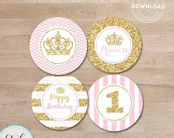 50% OFF SALE Pink and Gold Princess Cupcake toppers, Gold Glittler Cake, 1st birthday, first, Party Circles, Party Decorations,Printable Ins