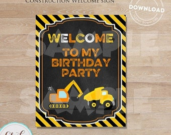 50% OFF SALE Construction Welcome Sign, Construction Birthday Sign,  Dump Truck Party, Birthday Party Sign, Chalkboard, Door Sign INSTANT Do