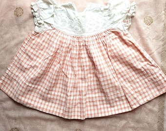 I960s Vintage Gingham Baby Girl's Smock Top