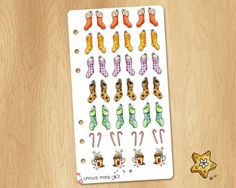 Mini Watercolor Stickers of Christmas Socks - Perfectly Fitting Planners Like Filofax Personal or Kikki.k Medium