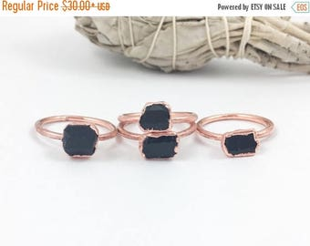 ON SALE Black Tourmaline Rings | Rough Black Tourmaline | Raw Black Tourmaline Rings | Electroform Rings | Crystal Rings | Stone Ring | Smal