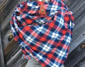 Blue, navy and red plaid blanket scarf with leather detail