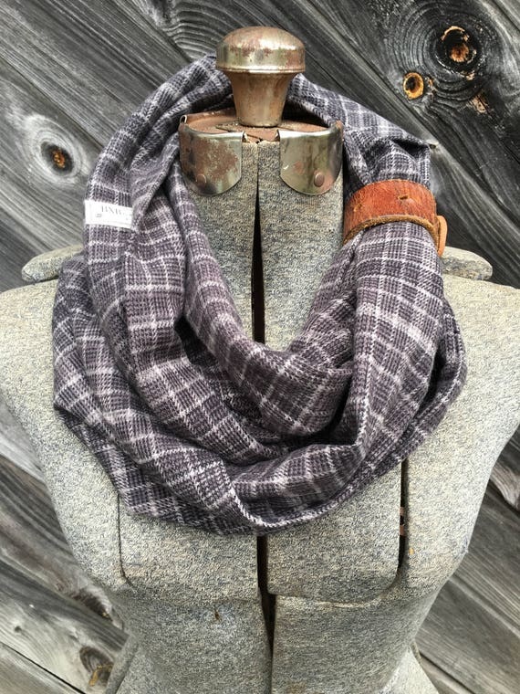 Gray plaid flannel eternity scarf with a brown leather cuff - soft, trendy