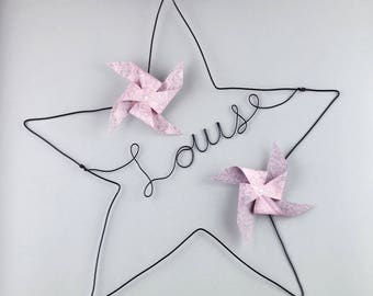 Home decor baby girl in wire star - child's name + windmill rose - decoration - baby gift handmade