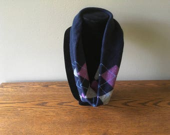 Upcycled cashmere infinity scarf #64. Navy blue, purple and grey argyle cashmere neckwarmer. Felted cashmere cowl.