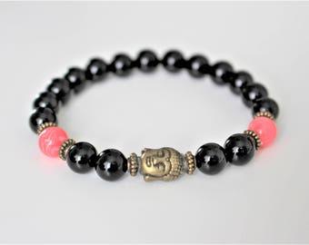 Black onyx bracelet, protection bracelet, bronze buddha charm