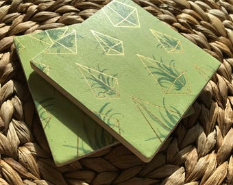 Geometric Air Plant Coaster - Green & Metallic Gold Detail - Full Cork Backing