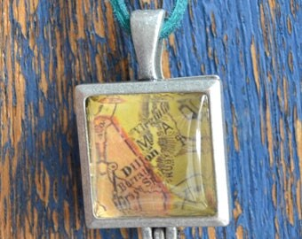Hometown Map Pendant on Teal Cord - Dillon, MT