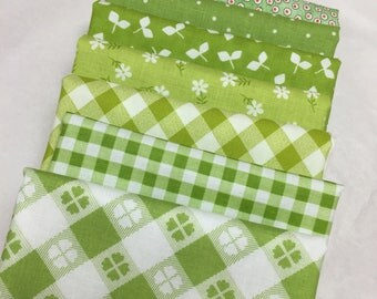 Green Fat Quarter bundle 7 pieces