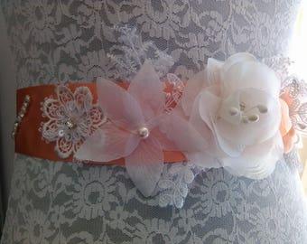 Pretty belt for bridal or bridesmaid satin peach color