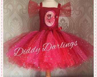 Sparkly Red Owlette Tutu Dress. All Sizes Fully Customised Any Colour & Character. Inspired by PJ Masks and Handmade