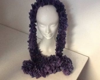 Scarf... handmade scarf froufrou knitted blue purple and green thread