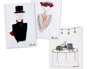 Lot 3 folded cards wedding envelopes.