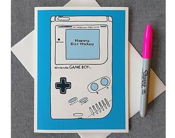 Game On Nintendo Game Boy Happy Birthday Archival Cotton Card
