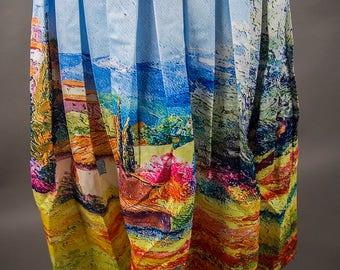 Vintage 60's Style Summer Skirt , Vintage 60's Style SatinTexture Cocktail Skirt, Vintage 60's Style Pleated Summer Skirt