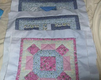 4 Hand-Stitched Quilted Squares
