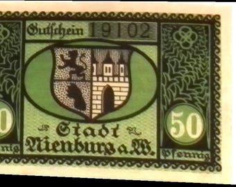 1920 Germany NIENBURG 50  Pnennig  Notgeld / Banknote