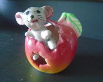 Kitsch mouse figurine, 1970's mouse in apple, china mouse figure, cute mouse figure