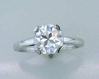 Vintage Antique Old European Cut Diamond Platinum Engagement Ring 2.03ct